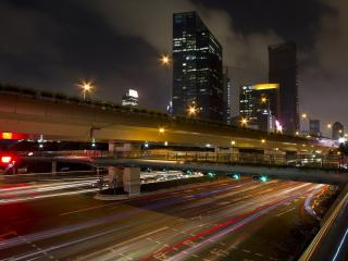 обои Над автострадами хмурое вечернее небо фото