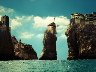 обои Поселения на скалах в море фото