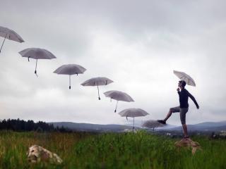обои Ряд зонтов и мужчина с зонтиком в травах фото