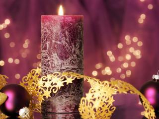 обои Красивая новогодняя свеча фото
