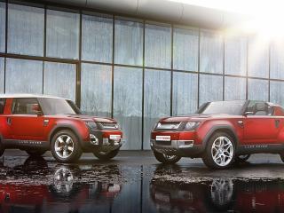 обои Два красных Land Rovera фото