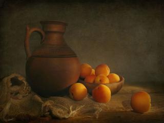 обои для рабочего стола: Натюрморт - Кувшин с абрикосами