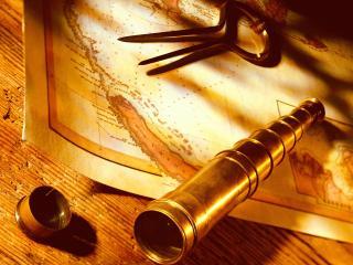 обои Подзорная труба на карте географической фото