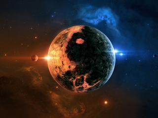 обои Яркая планета в космосе фото