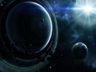 обои Яркая звезда и планеты фото