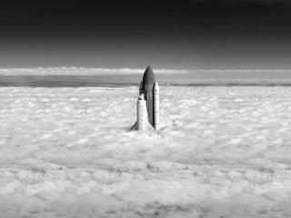 обои Шатлл летит в космос через небеса фото