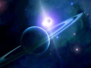 обои Планета с кольцом и звёзды фото