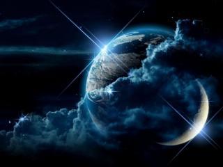 обои Луна,   земля и тучи фото