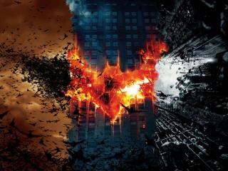 обои Знак бэтмана на здании фото