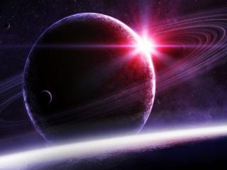 обои Планета с кольцом и яркая звезда фото