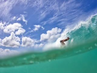 обои Небо,   океан и спортсмен на воде фото