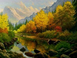 обои Рисунок осени в горах фото