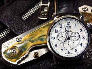 обои Часы ручные и складной ножик фото
