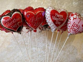 обои для рабочего стола: День Св. Валентина - Надутые сердечки