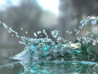 обои Округлая капля воды с брызгами фото