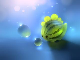обои Рисунок арбуза и пузырей фото