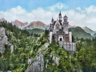 обои Богатый архитектурой замок на скале фото