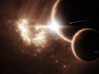 обои Планета со спутником в свете луча фото