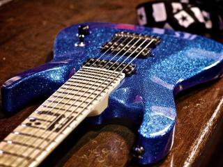 обои Синяя гитара електрическая фото