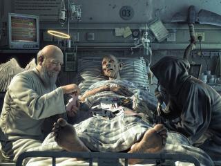обои Смерть и ангел играют в карты возле больного фото
