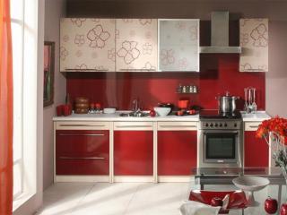 обои Интерьер кухни в красных тонах фото