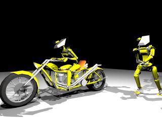 обои 2 Робота и Мотоцикл фото