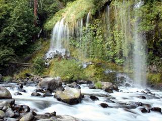 обои Водопады в горах фото