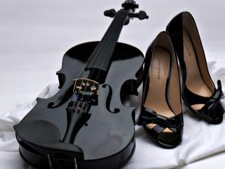 обои Черная скрипка и туфли фото