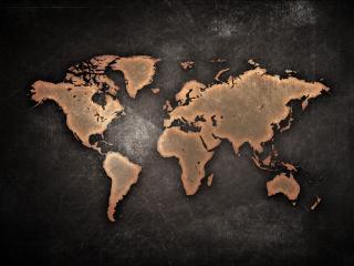 обои для рабочего стола: Карта земли на металле