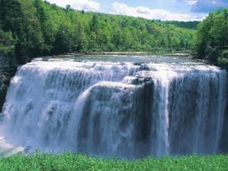 обои Широкий и мощный водопад фото