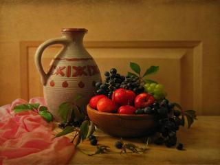 обои Натюрморт - Виноград и яблоки фото
