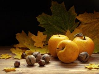 обои Яблочно-ореховый натюрморт фото