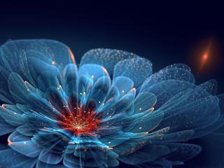 обои Голубой цветок в искорках фото