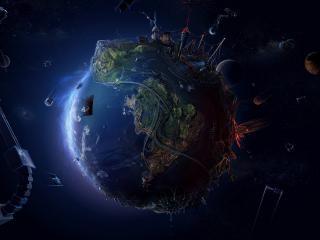 обои Рисунок земли в космическом пространстве фото