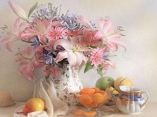 обои Натюрморт - Летний, из цветов и фруктов фото
