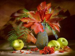 обои Натюрморт - Осенний, с яблоками и кленовыми листьями фото