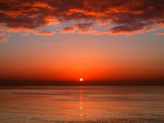 обои Оранжево прячется солнце фото