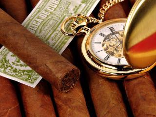 обои Кубинские сигары и часы карманные фото