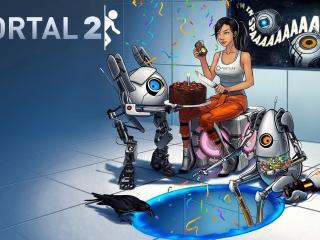 обои Рисунок девушки и роботов с тортом фото