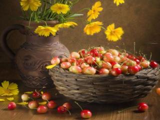 обои Натюрморт - Цветочно-ягодное настроение фото