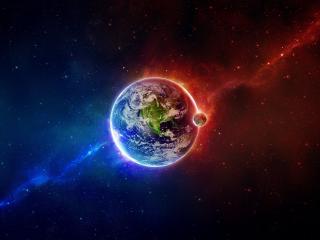 обои Луна около планеты земля фото