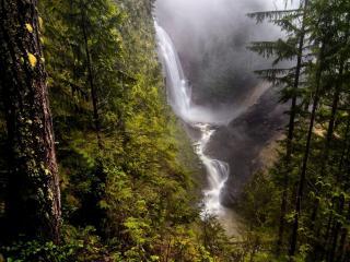 обои Туманится у горного водопада фото