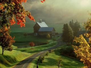 обои Деревня осенним утром фото
