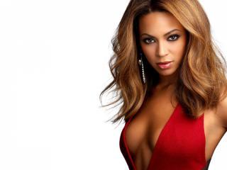 обои Beyonce Knowles в красном платье фото