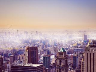 обои Панорамный вид туманного города фото