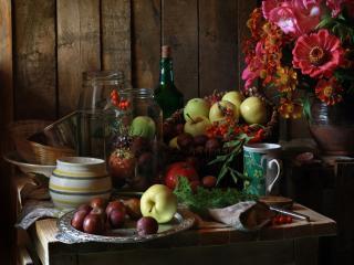 обои Натюрморт -  С цветами и плодами фото