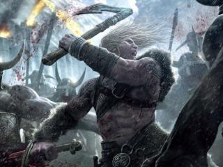 обои Воин разящий мечем и топором фото