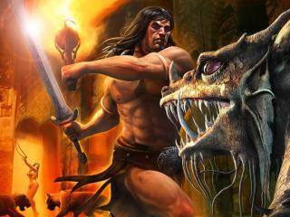 обои Схватка Конана с саблезубым чудовищем фото