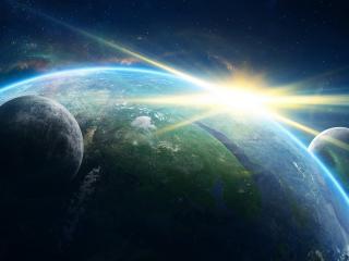 обои Вспышка света у планеты фото