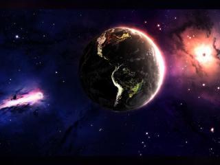 обои Вспышки в космосе с розовым оттенком фото